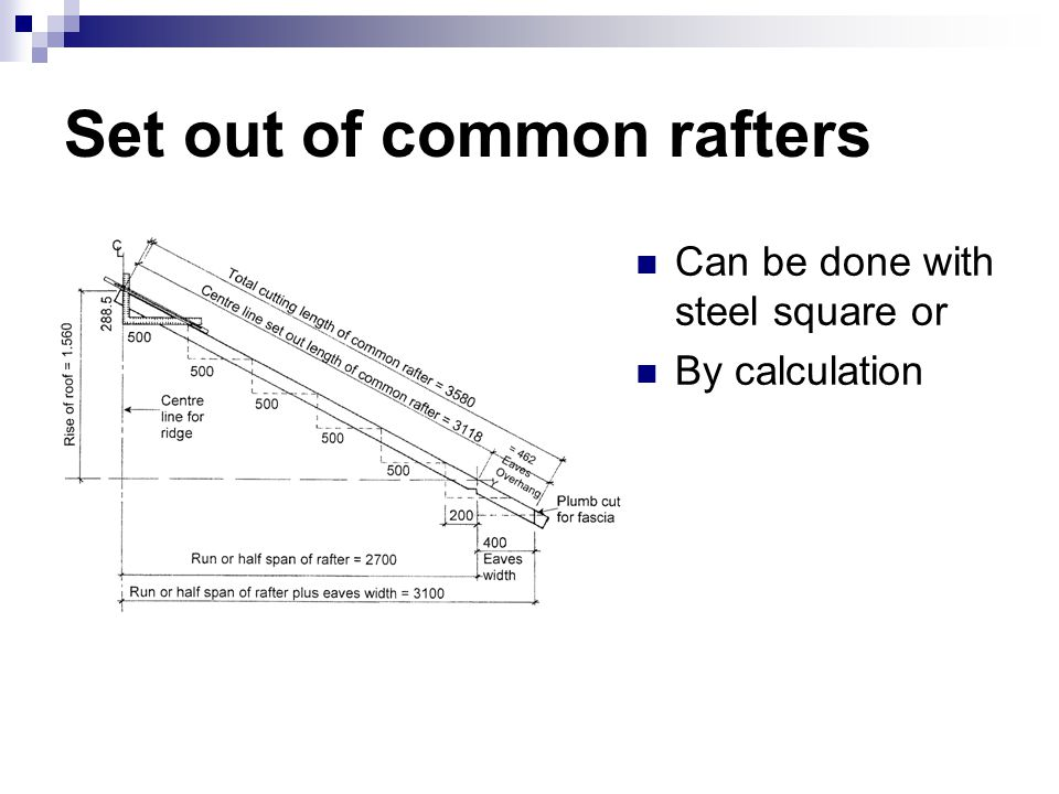 Set out of common rafters