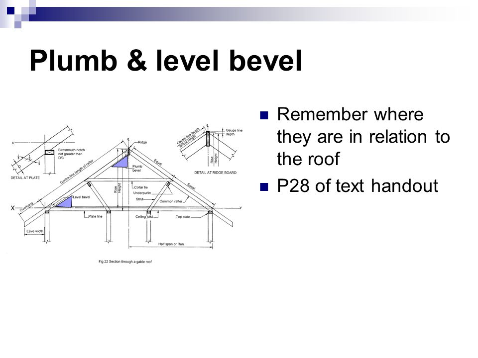 Plumb & level bevel Remember where they are in relation to the roof