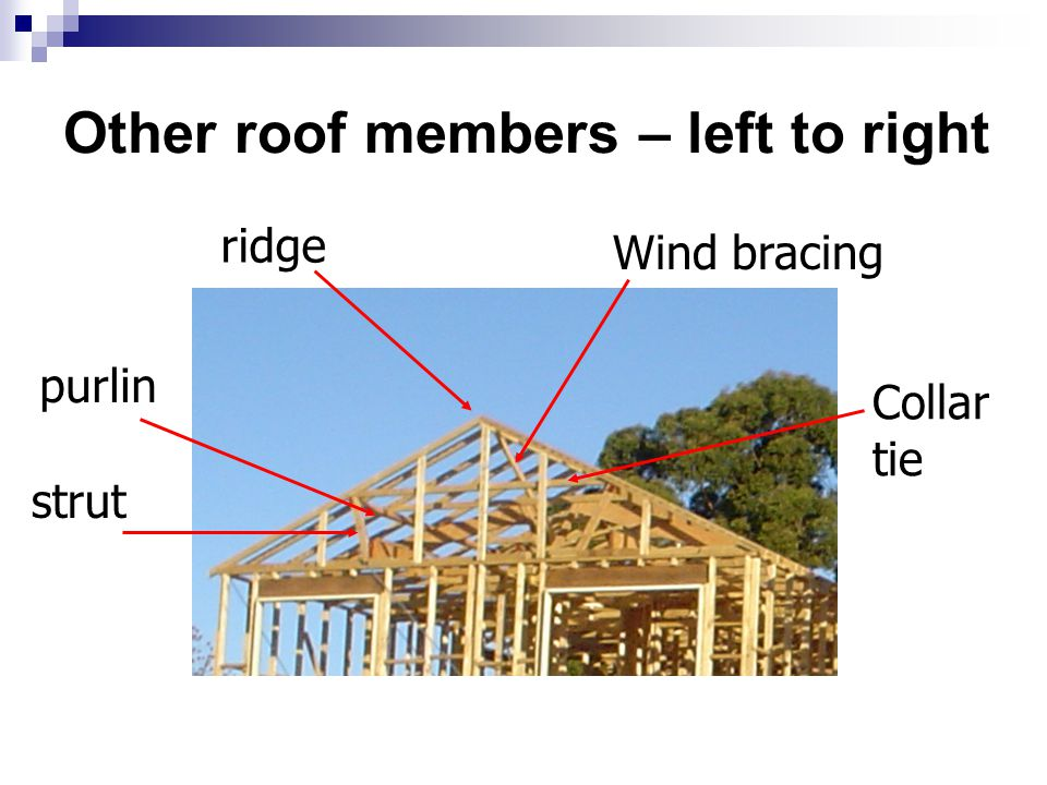 Other roof members – left to right