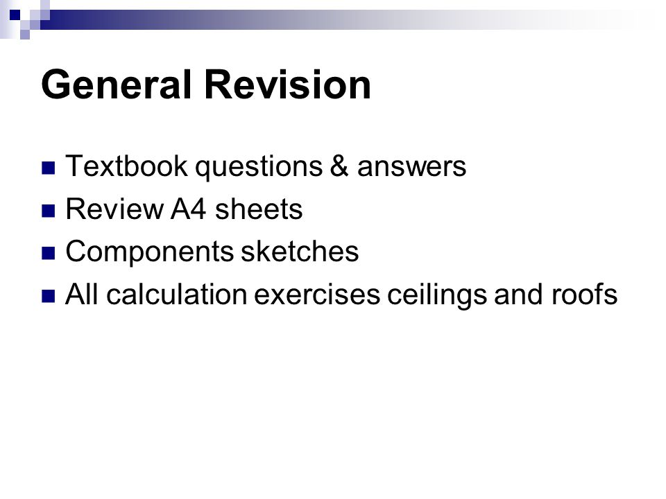 General Revision Textbook questions & answers Review A4 sheets