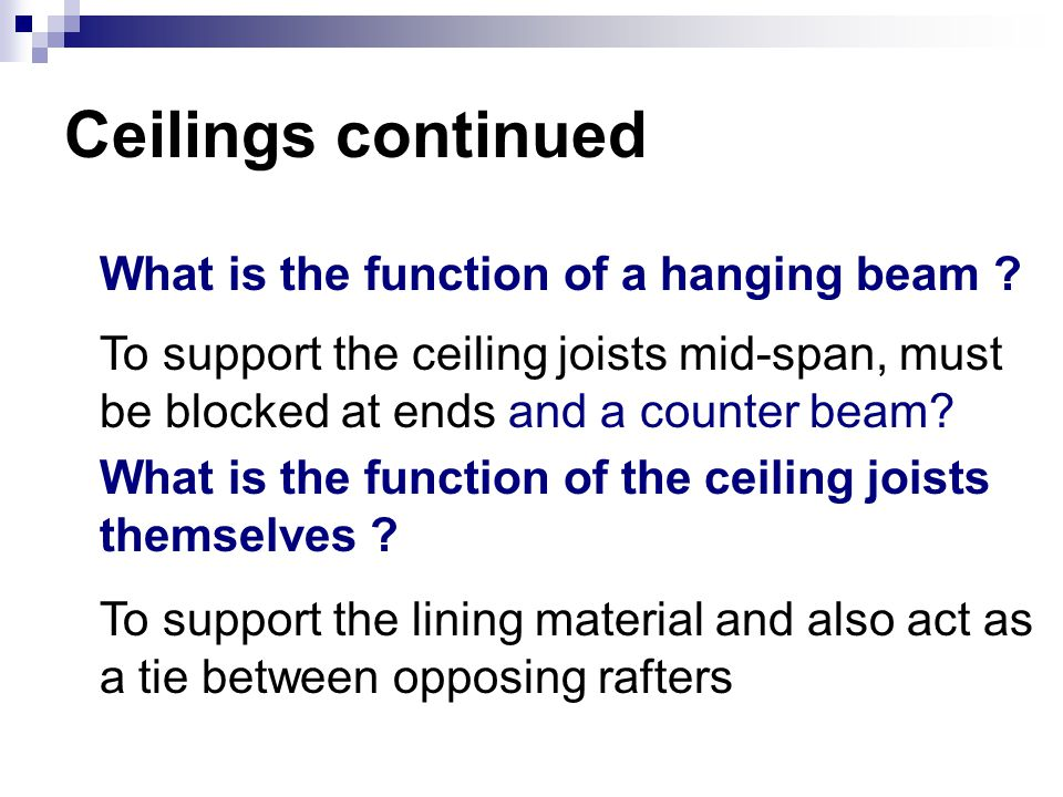 Ceilings continued What is the function of a hanging beam