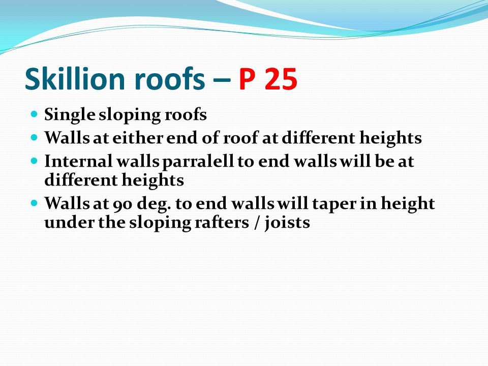 Skillion roofs – P 25 Single sloping roofs