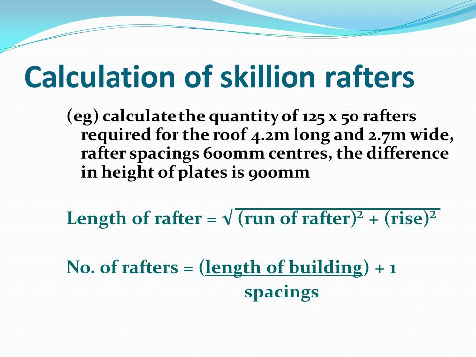 Calculation of skillion rafters