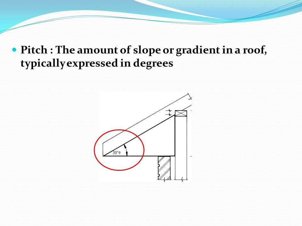 Pitch : The amount of slope or gradient in a roof, typically expressed in degrees