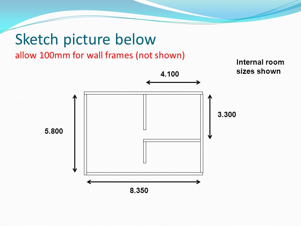 Sketch picture below allow 100mm for wall frames (not shown)