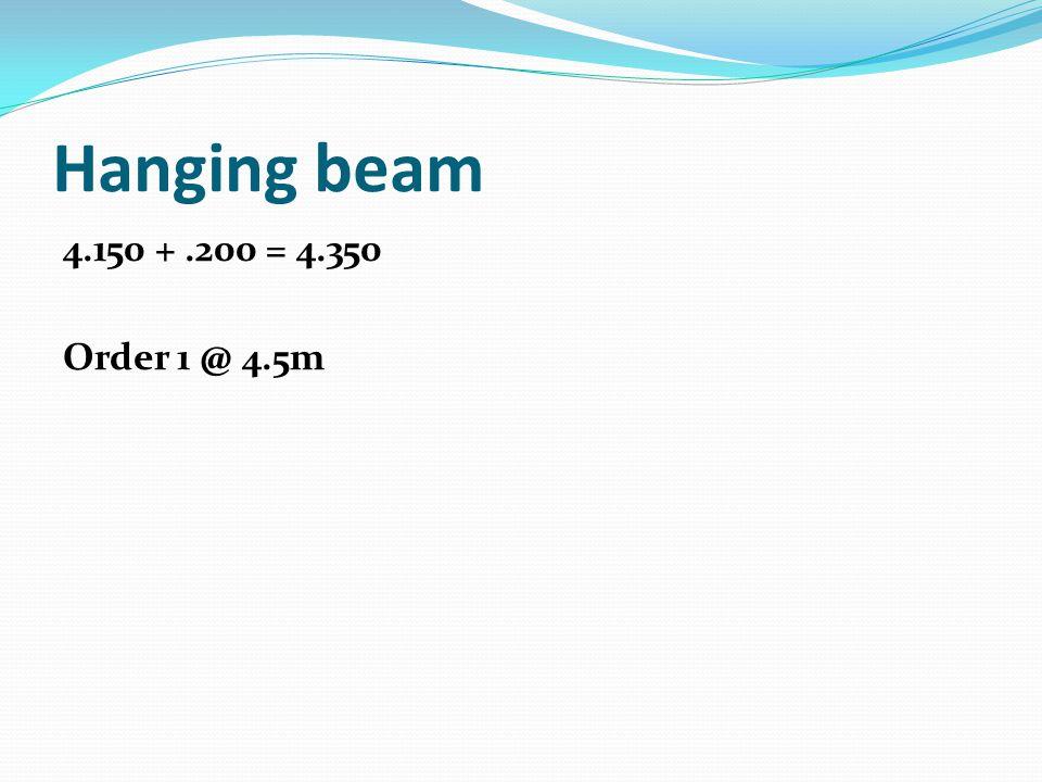 Hanging beam 4.150 + .200 = 4.350 Order 1 @ 4.5m
