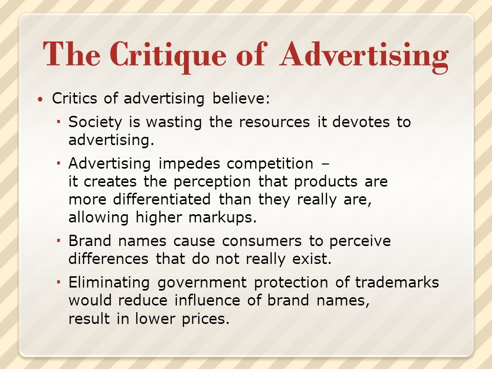 The Critique of Advertising