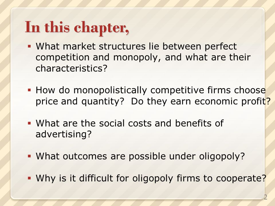 In this chapter, What market structures lie between perfect competition and monopoly, and what are their characteristics