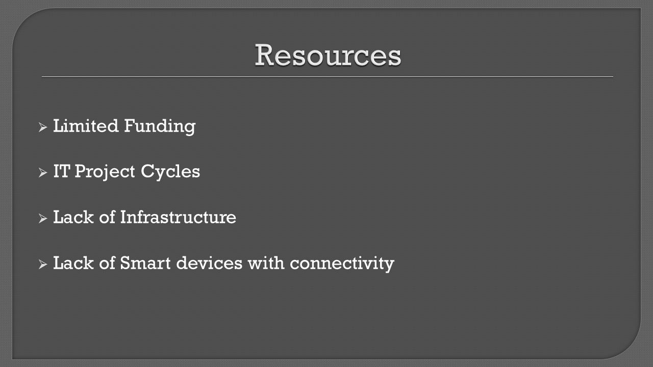 Resources Limited Funding IT Project Cycles Lack of Infrastructure