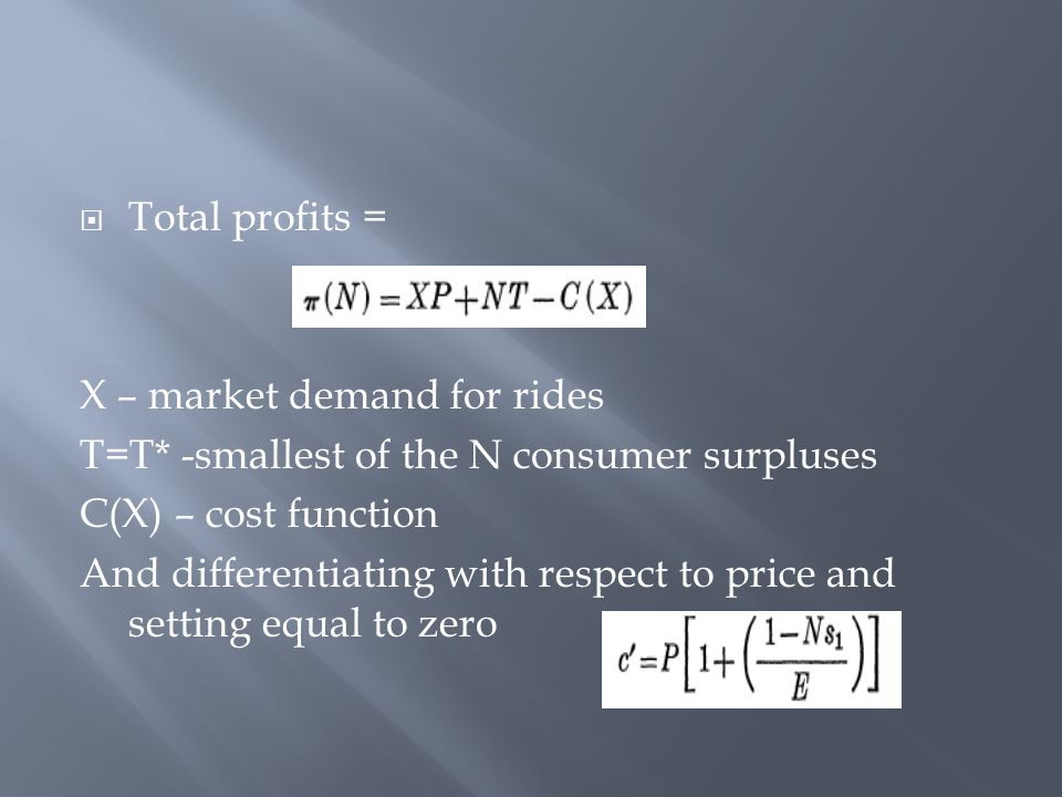 X – market demand for rides T=T* -smallest of the N consumer surpluses