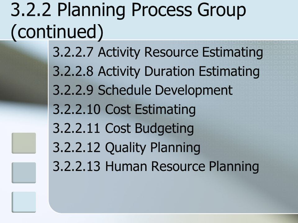 3.2.2 Planning Process Group (continued)