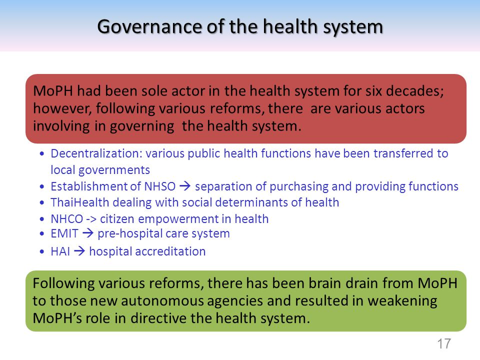 Governance of the health system
