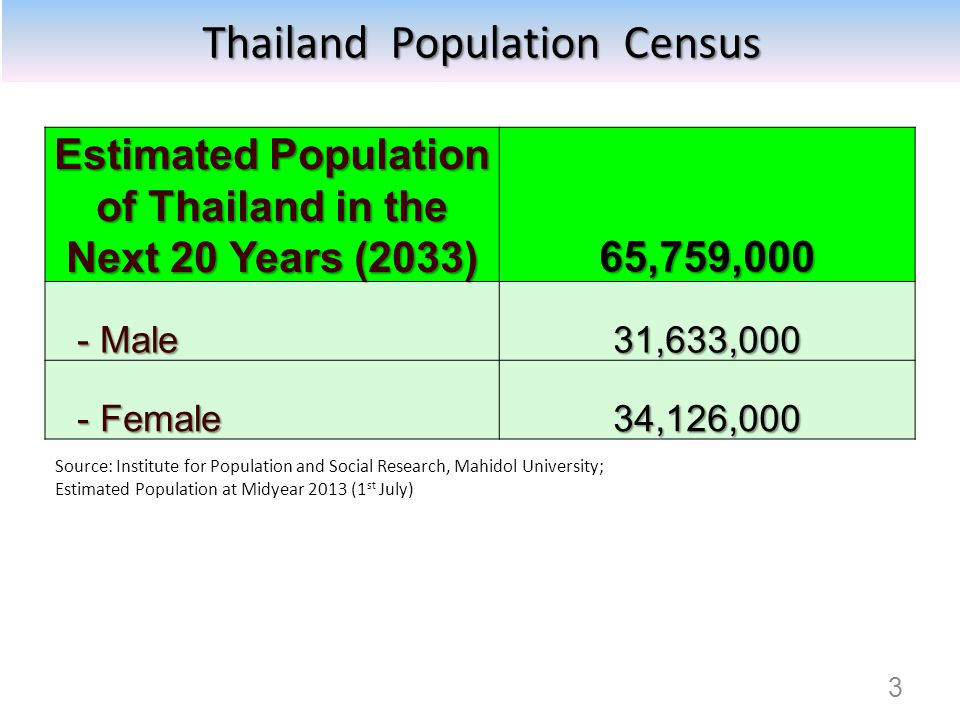 Estimated Population of Thailand in the Next 20 Years (2033)