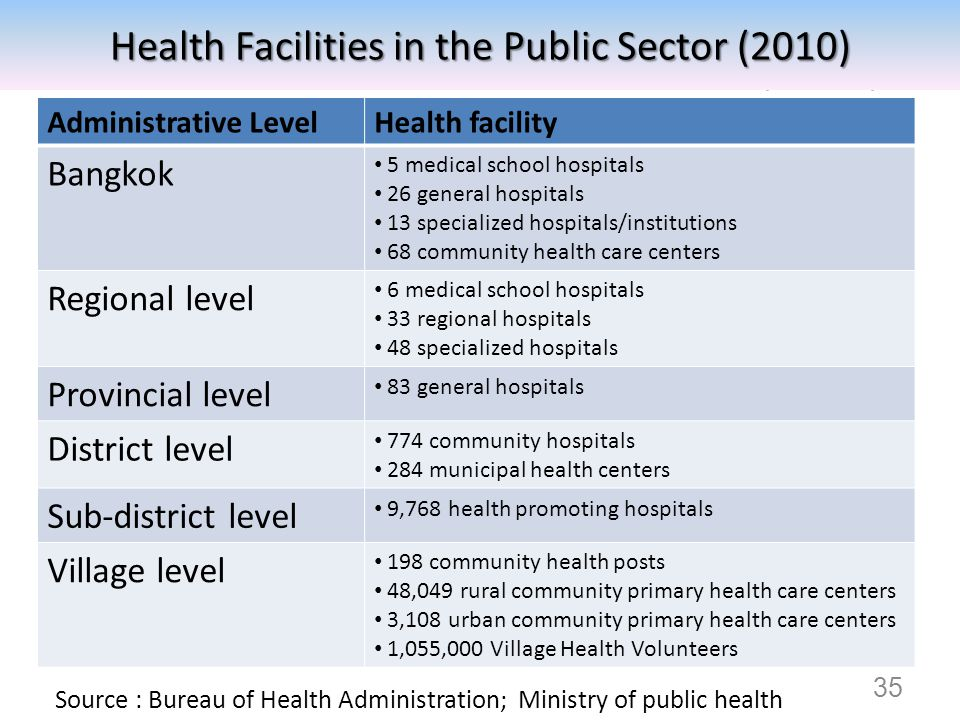 Health Facilities in the Public Sector (2010)