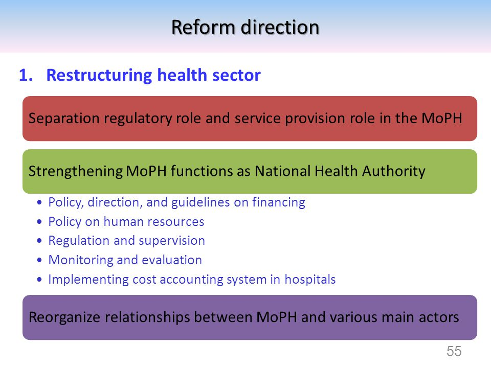 Reform direction Restructuring health sector