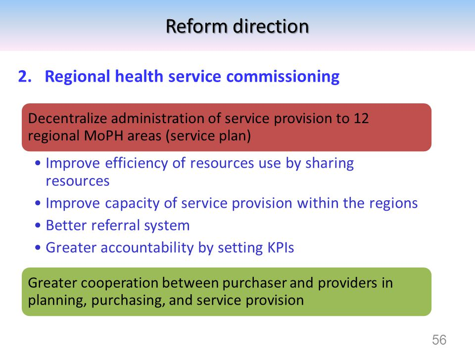 Reform direction Regional health service commissioning