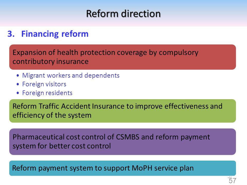Reform direction Financing reform