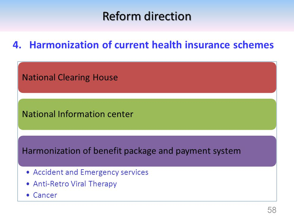 Reform direction Harmonization of current health insurance schemes