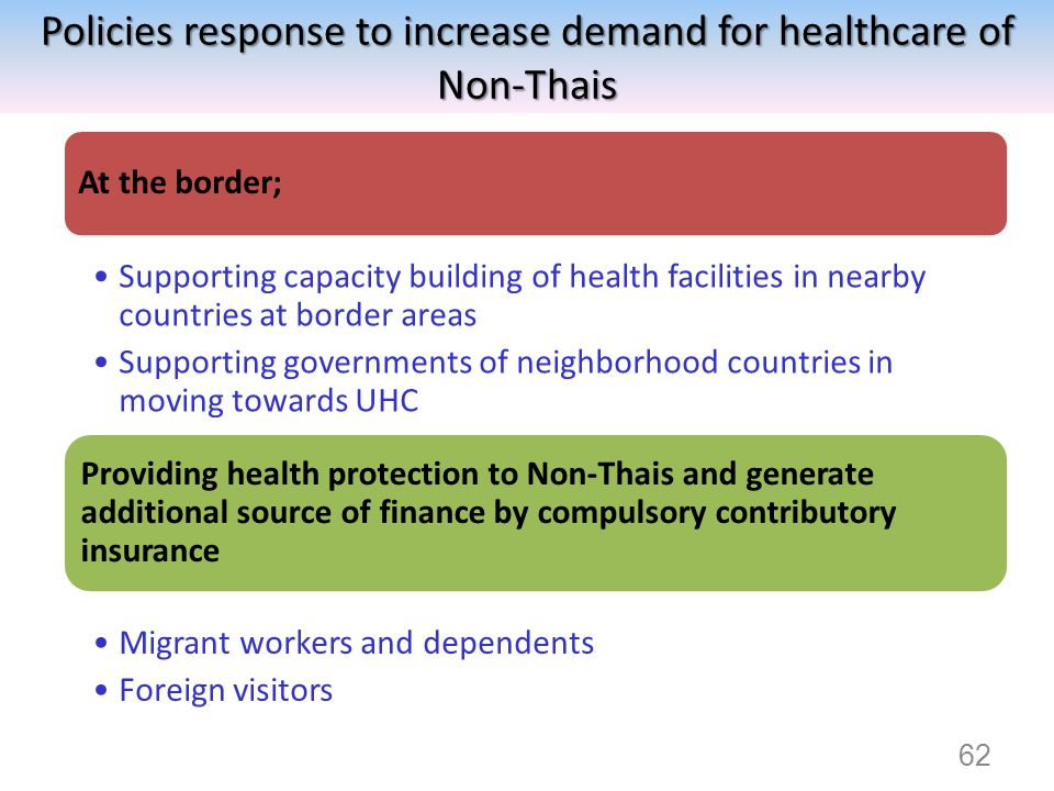 Policies response to increase demand for healthcare of Non-Thais