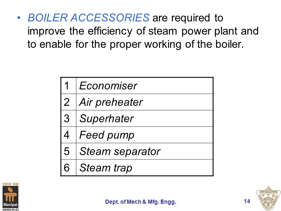 BOILER ACCESSORIES are required to improve the efficiency of steam power plant and to enable for the proper working of the boiler.