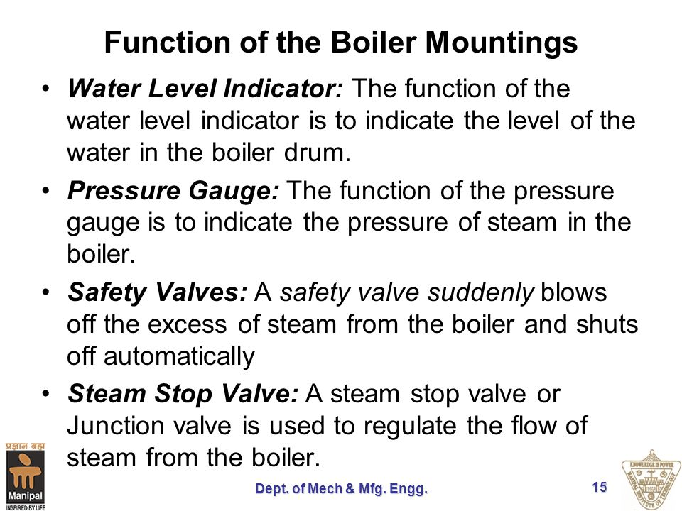 Function of the Boiler Mountings