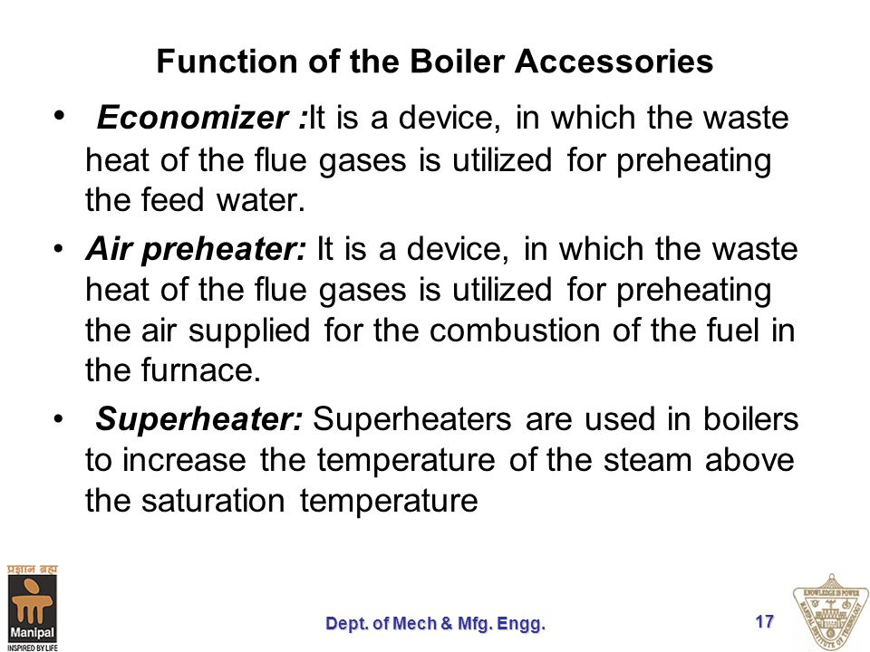 Function of the Boiler Accessories