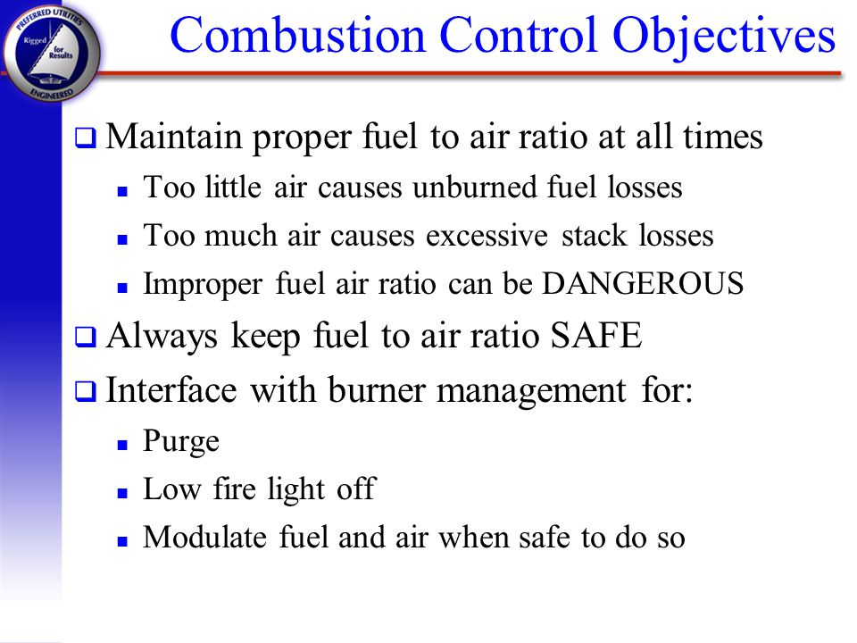 Combustion Control Objectives
