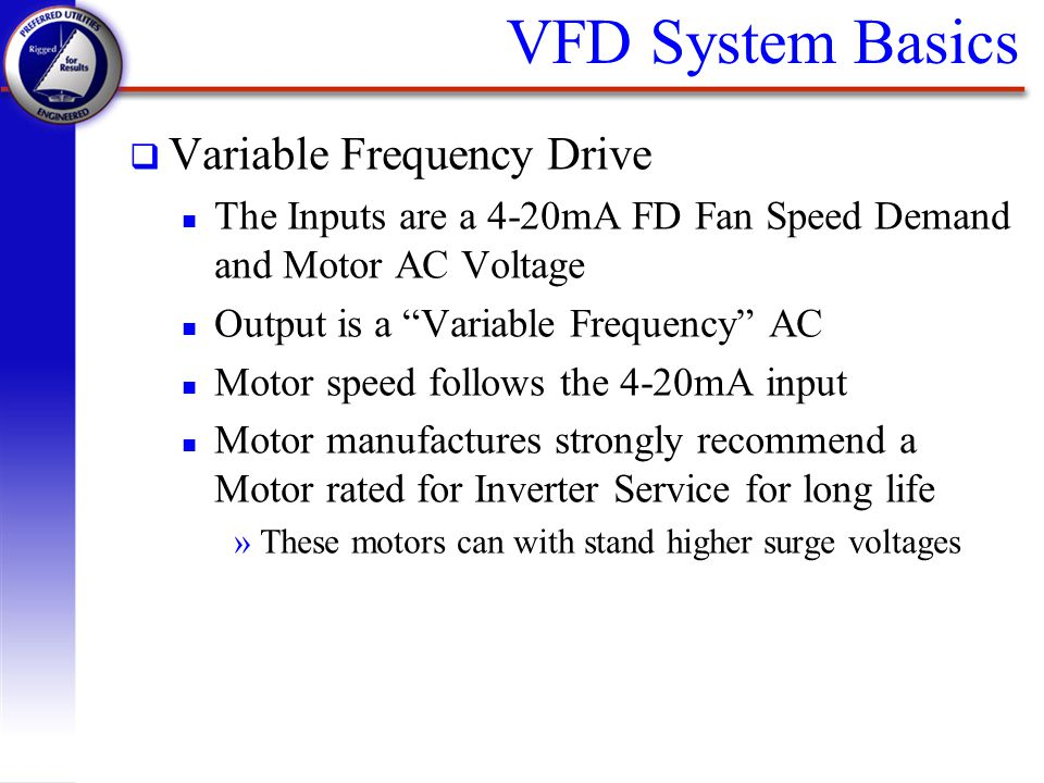 Preferred utilities manufacturing corp ppt video online for Variable frequency drive motor