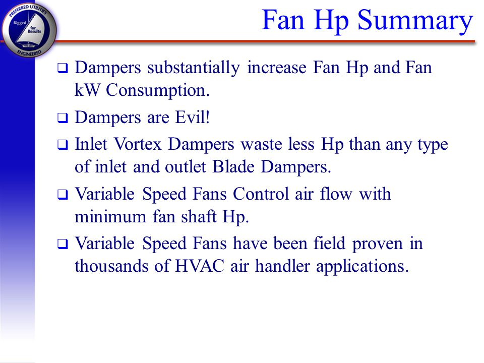 Fan Hp Summary Dampers substantially increase Fan Hp and Fan kW Consumption. Dampers are Evil!
