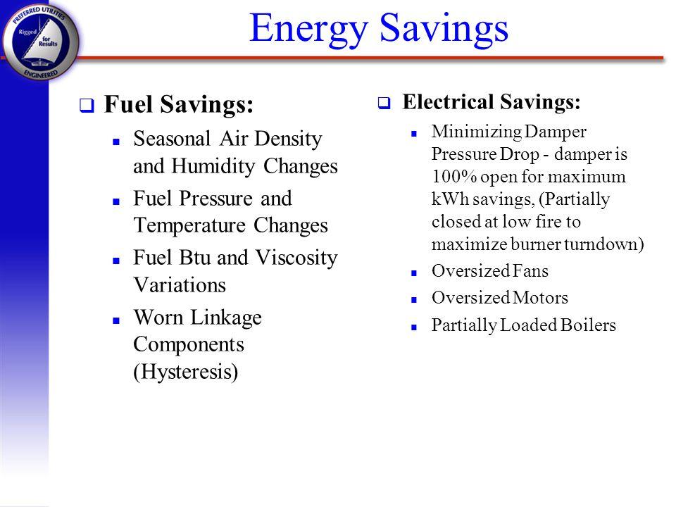 Energy Savings Fuel Savings: Electrical Savings: