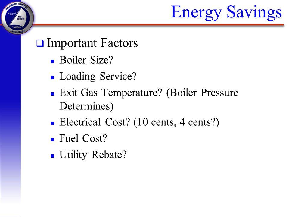 Energy Savings Important Factors Boiler Size Loading Service