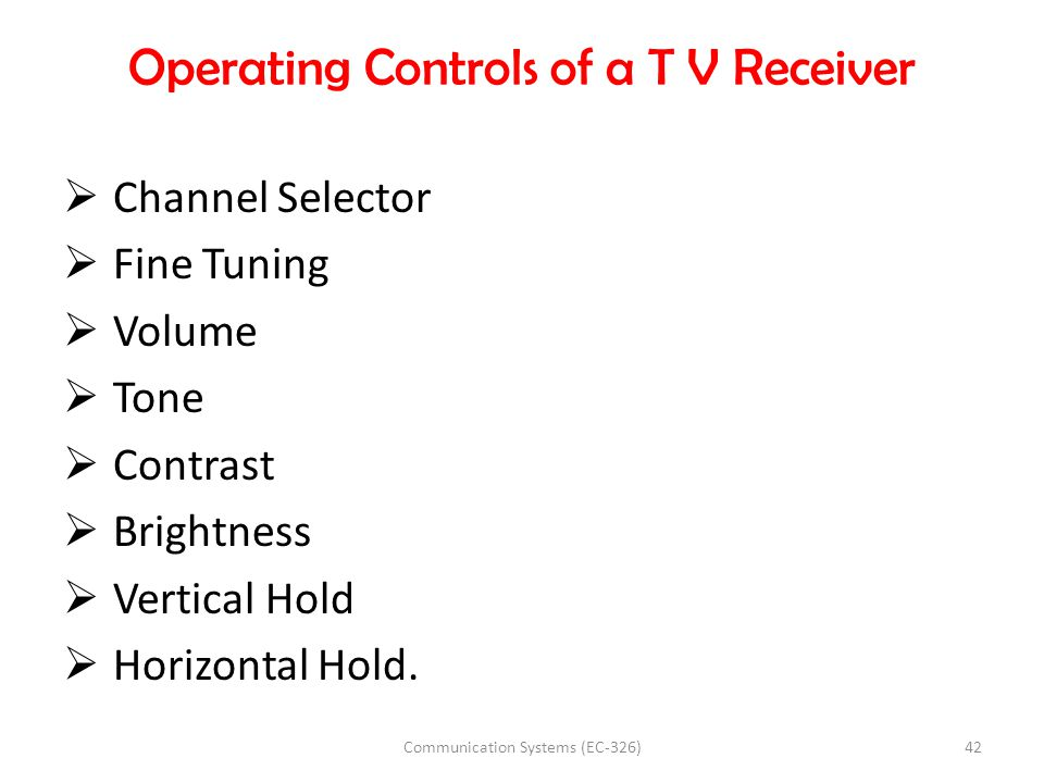 Operating Controls of a T V Receiver