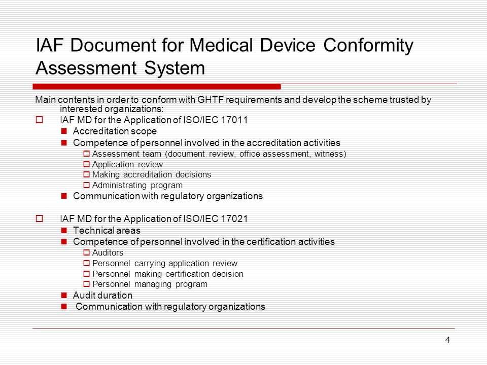 IAF Document for Medical Device Conformity Assessment System