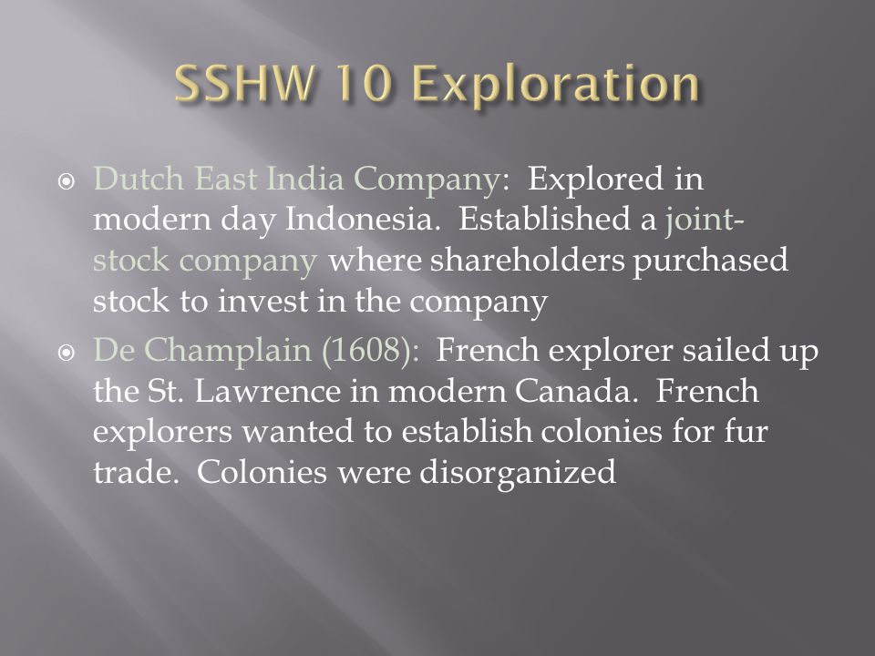 SSHW 10 Exploration