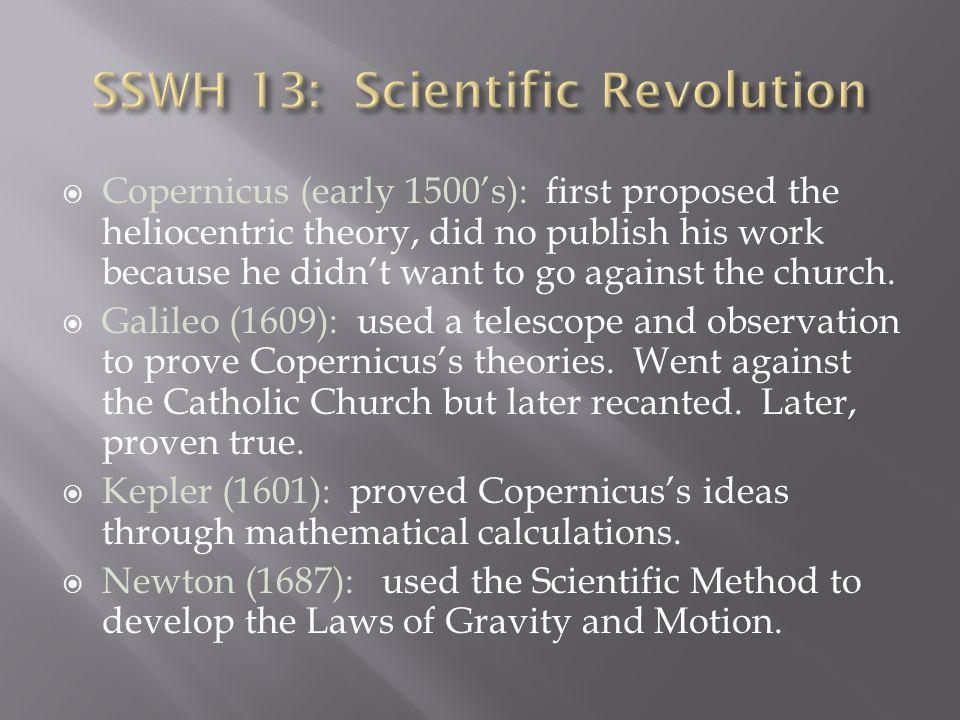 SSWH 13: Scientific Revolution