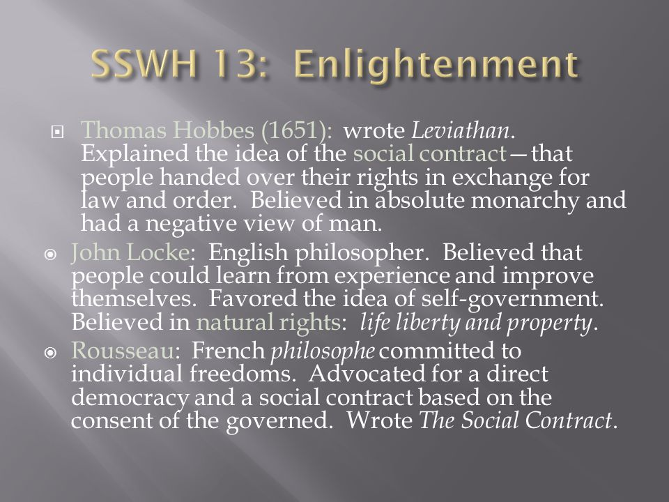 SSWH 13: Enlightenment