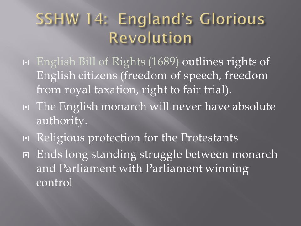 SSHW 14: England's Glorious Revolution