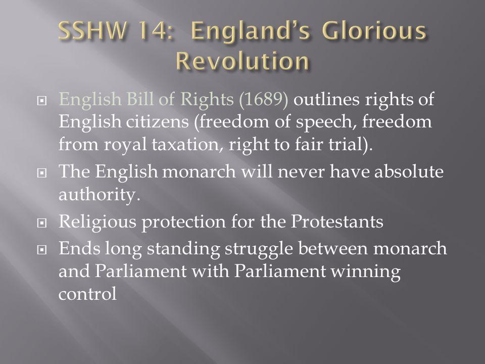 SSHW 14: England's Glorious Revolution