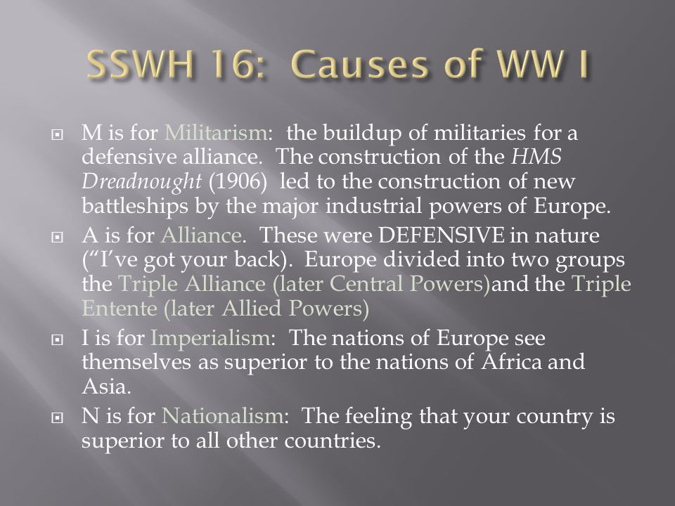 SSWH 16: Causes of WW I