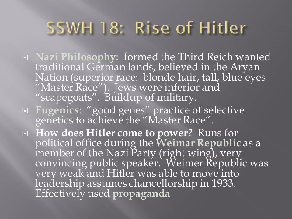 SSWH 18: Rise of Hitler