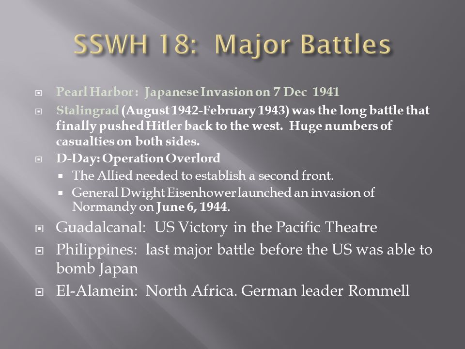 SSWH 18: Major Battles Guadalcanal: US Victory in the Pacific Theatre