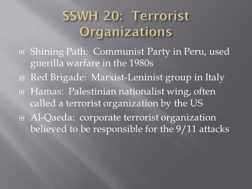 SSWH 20: Terrorist Organizations