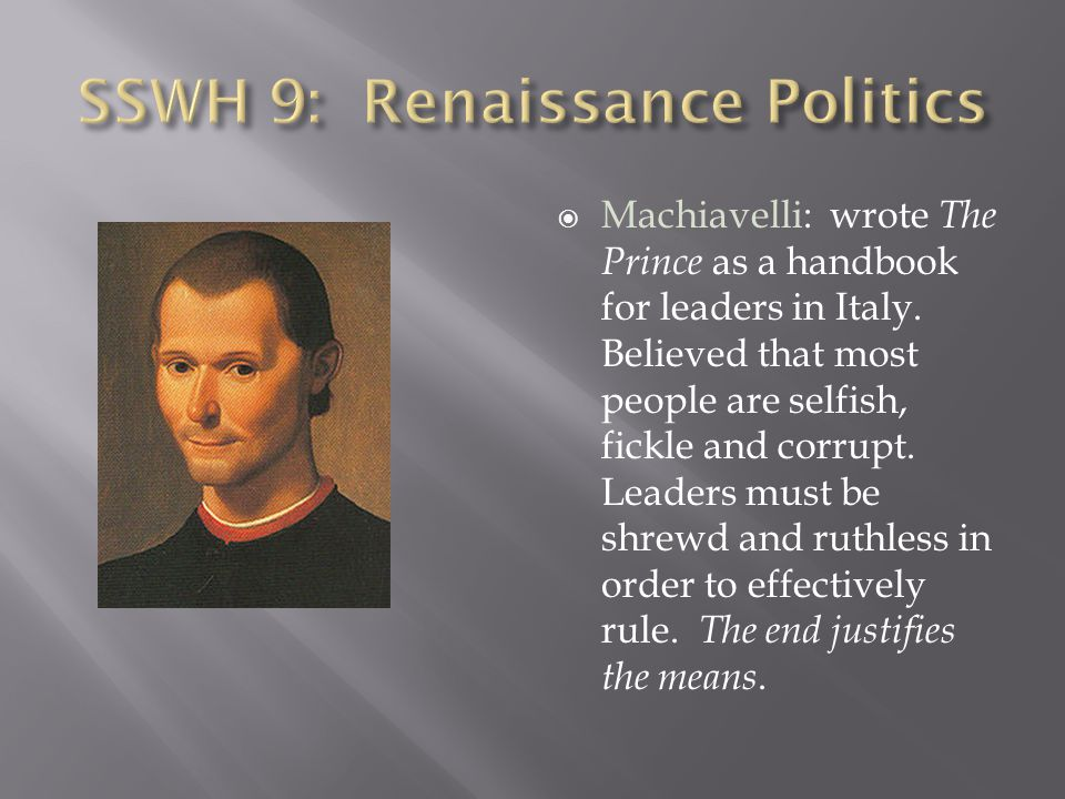 SSWH 9: Renaissance Politics