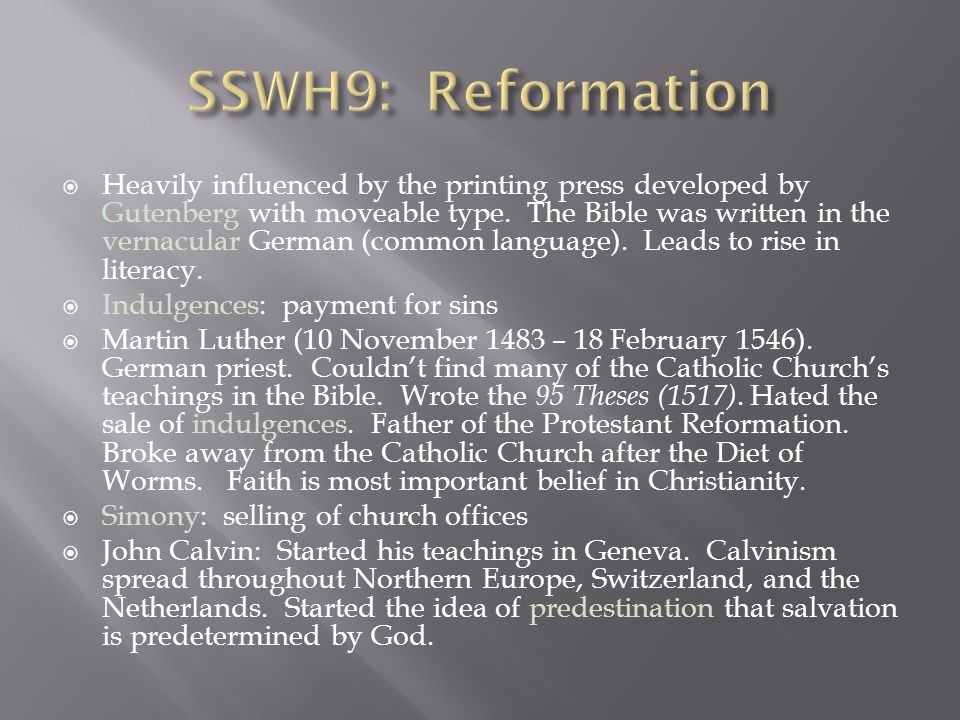 SSWH9: Reformation