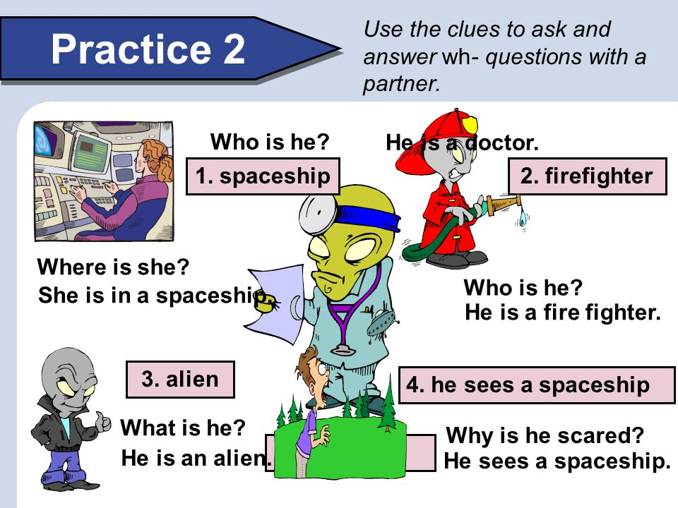 Use the clues to ask and answer wh- questions with a partner.