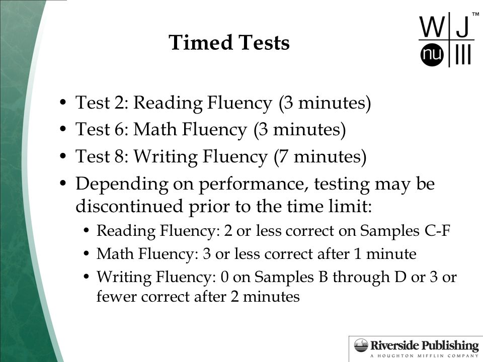 Timed Tests Test 2: Reading Fluency (3 minutes)