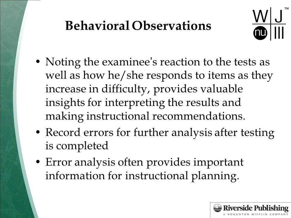 Behavioral Observations