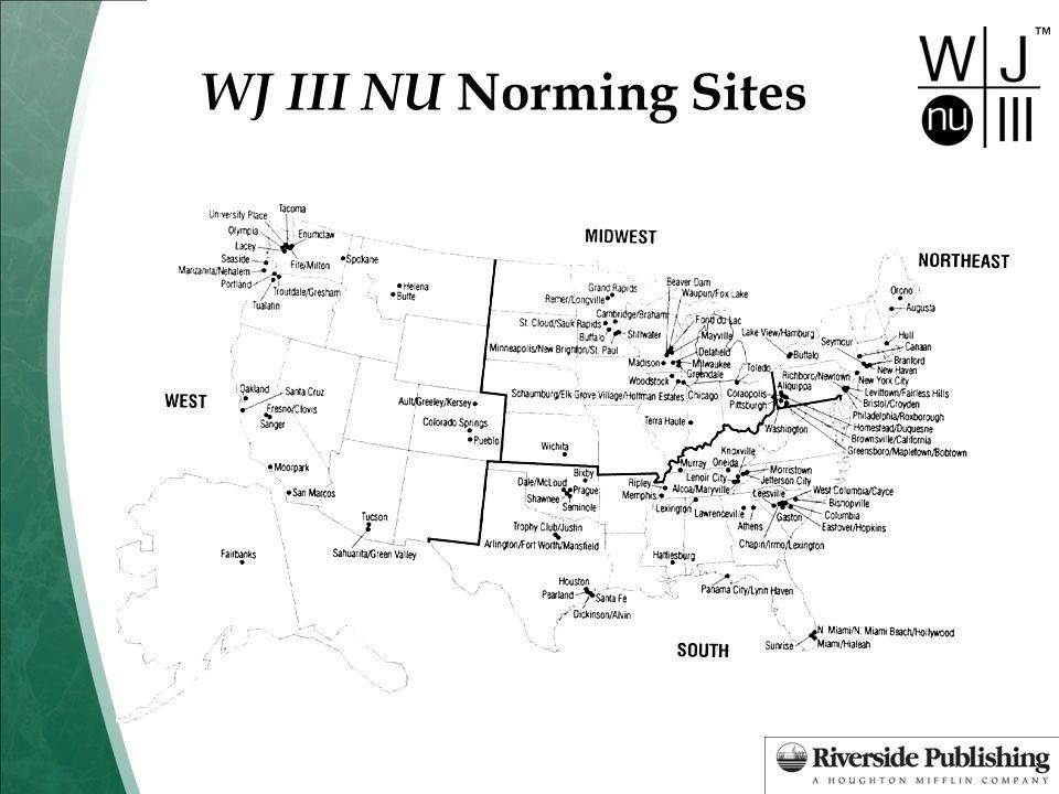 WJ III NU Norming Sites