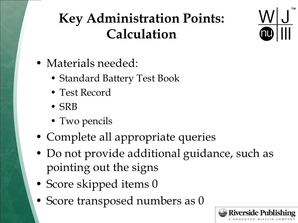 Key Administration Points: Calculation