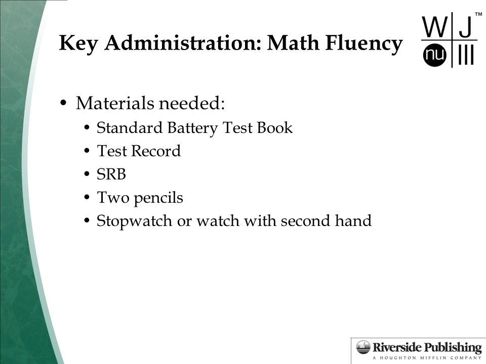 Key Administration: Math Fluency